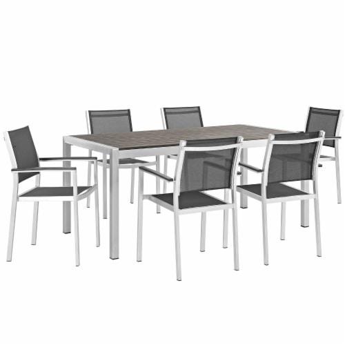 Shore 7 Piece Outdoor Patio Aluminum Dining Set - Silver Black Perspective: front