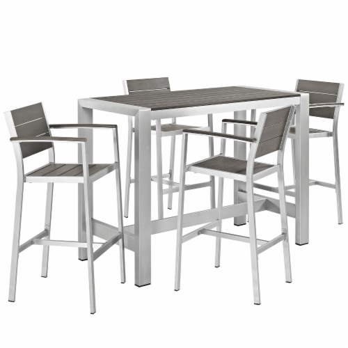 Shore 5 Piece Outdoor Patio Aluminum Dining Set - Silver Gray Perspective: front