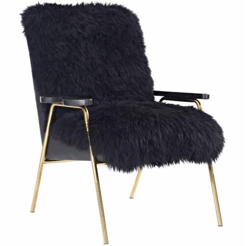 Sprint Sheepskin Armchair - Black Black Perspective: front