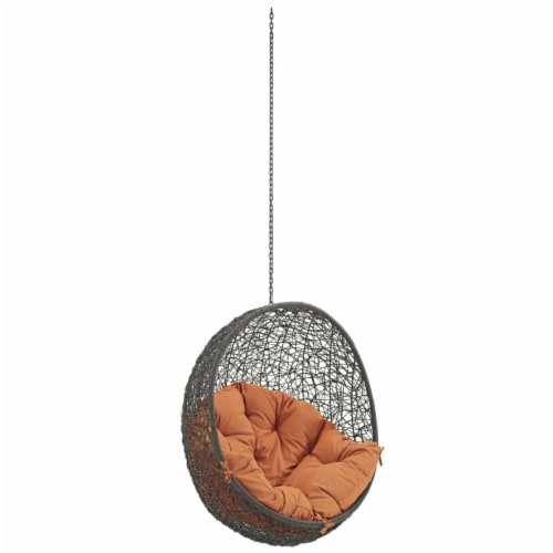 Hide Outdoor Patio Swing Chair Without Stand - Gray Orange Perspective: front