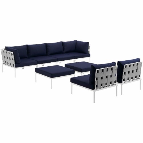 Harmony 8 Piece Outdoor Patio Aluminum Sectional Sofa Set - White Navy Perspective: front