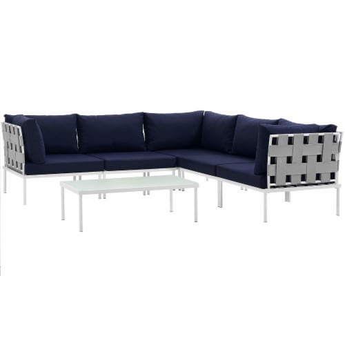 Harmony 6 Piece Outdoor Patio Aluminum Sectional Sofa Set - White Navy Perspective: front