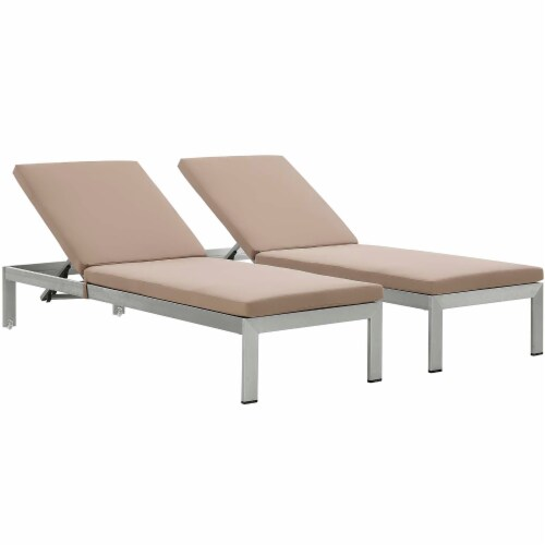 Shore Chaise with Cushions Outdoor Patio Aluminum Set of 2 - Silver Mocha Perspective: front