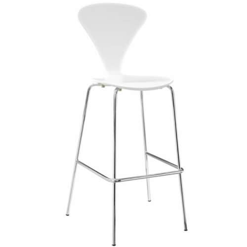 Passage Dining Bar Stool, White Perspective: front