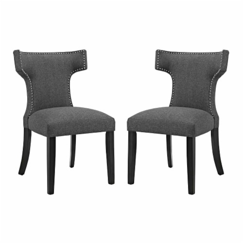 Curve Dining Side Chair Fabric Set of 2 - Gray Perspective: front
