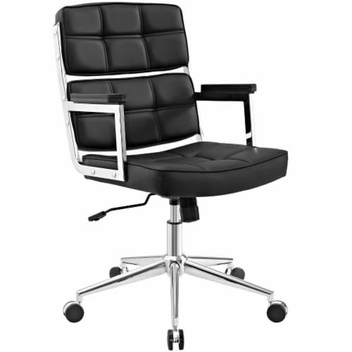 Portray Highback Upholstered Vinyl Office Chair - Black Perspective: front