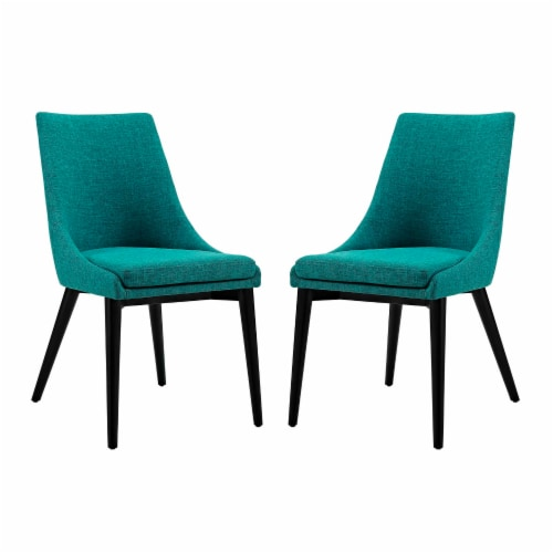 Viscount Dining Side Chair Fabric Set of 2 - Teal Perspective: front