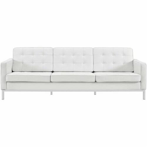 Loft Leather Sofa - Cream White Perspective: front