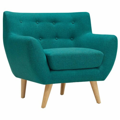 Remark Upholstered Fabric Armchair - Teal Perspective: front
