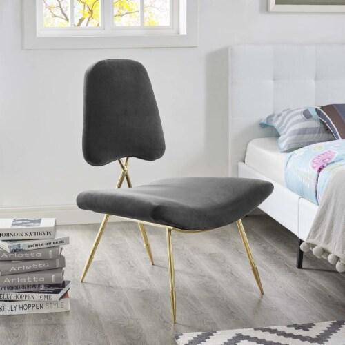 Ponder Upholstered Velvet Lounge Chair, EEI-2809-BLK Perspective: front