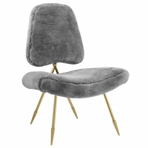 Ponder Upholstered Sheepskin Fur Lounge Chair, EEI-2810-GRY Perspective: front