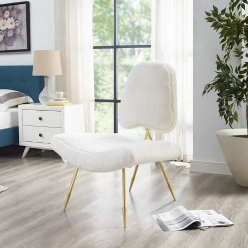 Ponder Upholstered Sheepskin Fur Lounge Chair Perspective: front