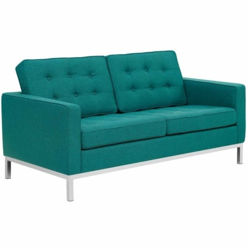 Loft Upholstered Fabric Loveseat Perspective: front