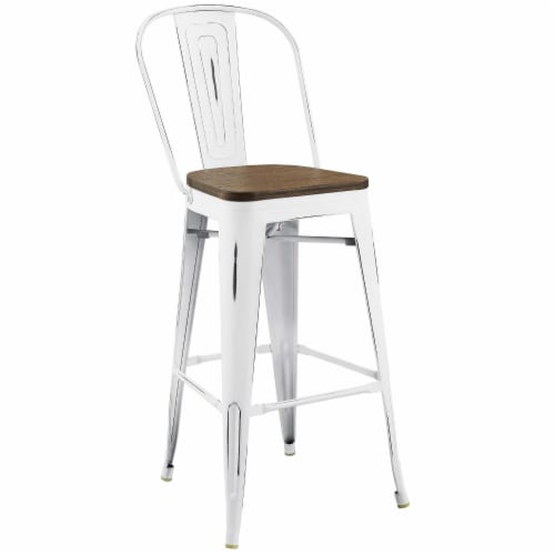 Promenade Bar Stool - White Perspective: front