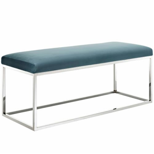 Anticipate Velvet Bench - Sea Blue Perspective: front