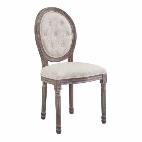 Arise Vintage French Upholstered Fabric Dining Side Chair - Beige Perspective: front