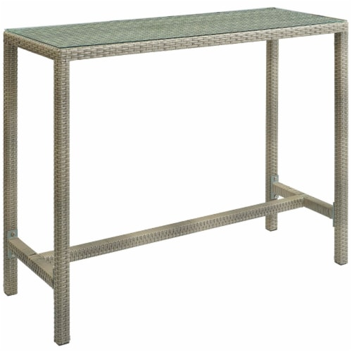 Conduit Outdoor Patio Wicker Rattan Large Bar Table - Light Gray Perspective: front
