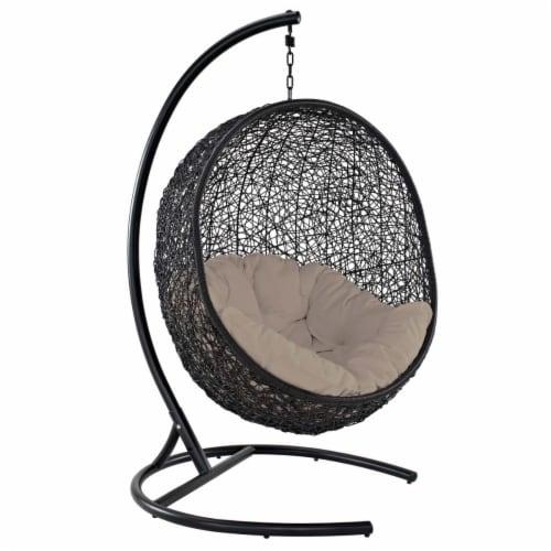 Encase Swing Outdoor Patio Lounge Chair - Beige Perspective: front
