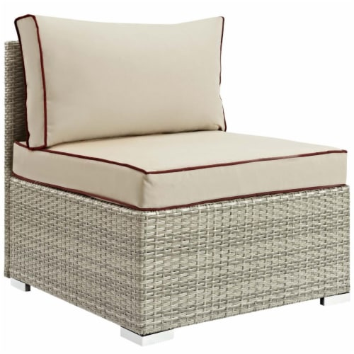 Repose Outdoor Patio Armless Chair - Light Gray Beige Perspective: front