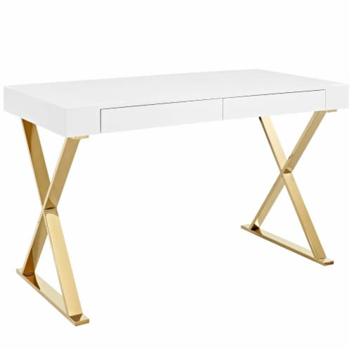 Sector Office Desk - White Gold Perspective: front