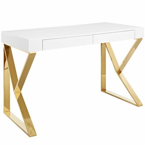 Adjacent Desk - White Gold Perspective: front