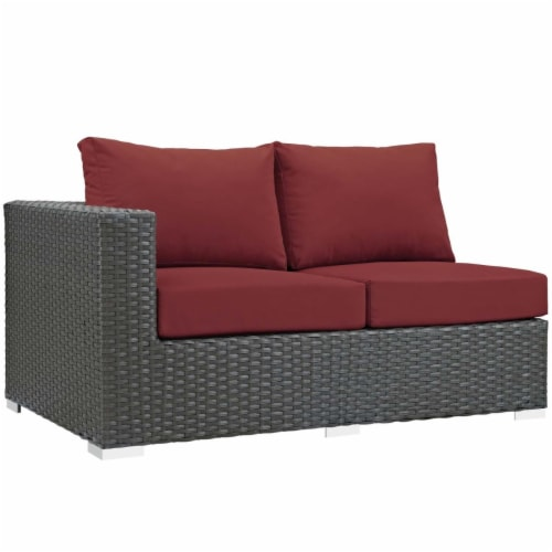 Sojourn Outdoor Patio Sunbrella Left Arm Loveseat - Canvas Red Perspective: front