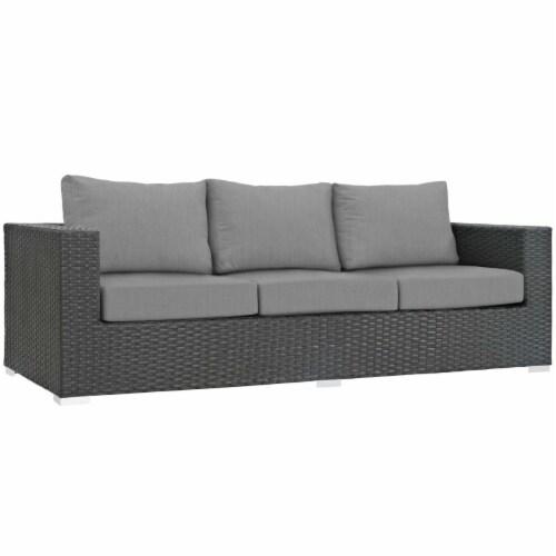 Sojourn Outdoor Patio Sunbrella Sofa - Canvas Gray Perspective: front
