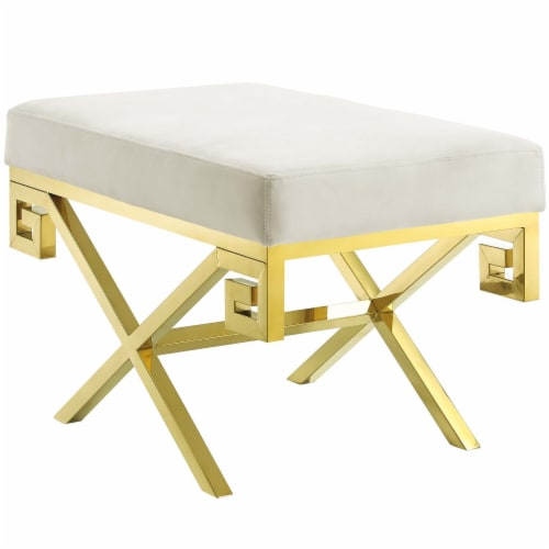 Rove Velvet Bench - Gold Ivory Perspective: front
