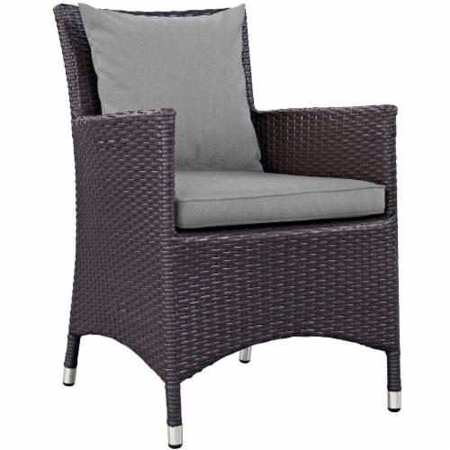 Convene Dining Outdoor Patio Armchair - Espresso Gray Perspective: front
