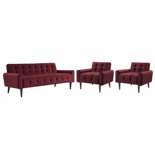 Delve Living Room Set Velvet Set of 3 - Maroon Perspective: front