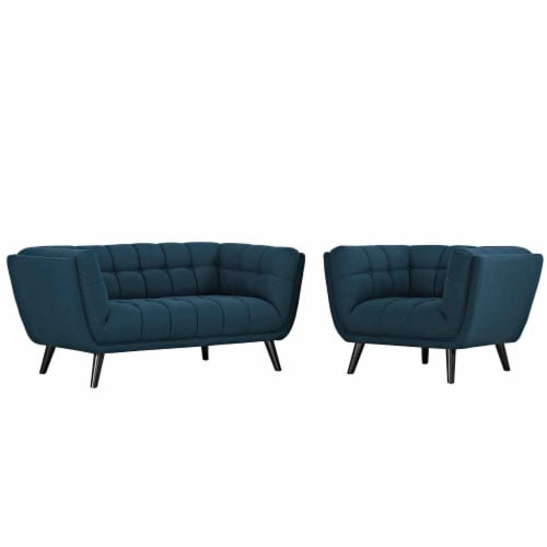 Bestow 2 Piece Upholstered Fabric Loveseat and Armchair Set - Blue Perspective: front