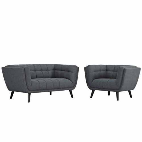 Bestow 2 Piece Upholstered Fabric Loveseat and Armchair Set - Gray Perspective: front
