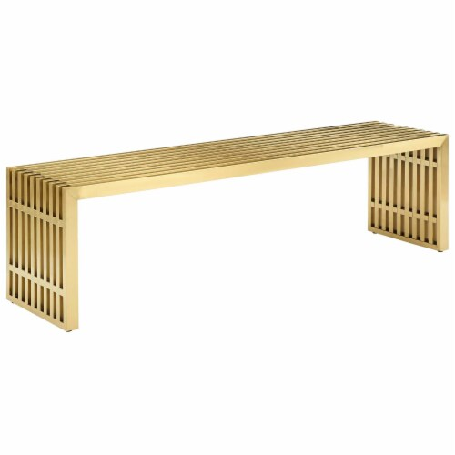 Gridiron Large Stainless Steel Bench - Gold Perspective: front