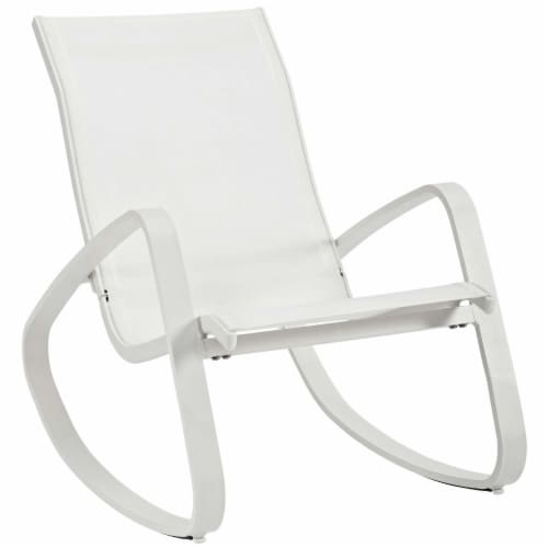 Traveler Rocking Outdoor Patio Mesh Sling Lounge Chair - White White Perspective: front