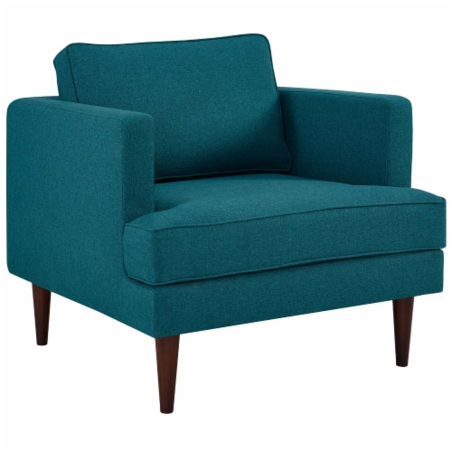 Agile Upholstered Fabric Armchair - Teal Perspective: front
