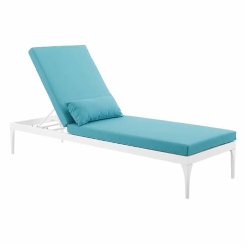 Perspective Cushion Outdoor Patio Chaise Lounge Chair - White Turquoise Perspective: front