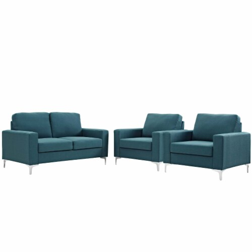 Allure 3 Piece Sofa and Armchair Set - Blue Perspective: front