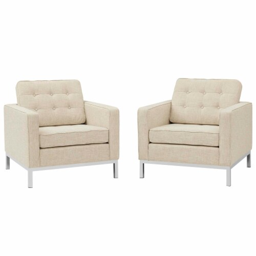 Loft Armchairs Upholstered Fabric Set of 2 - Beige Perspective: front
