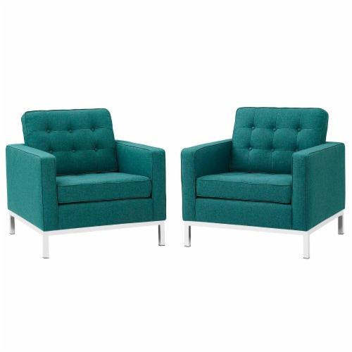 Loft Armchairs Upholstered Fabric Set of 2 - Teal Perspective: front