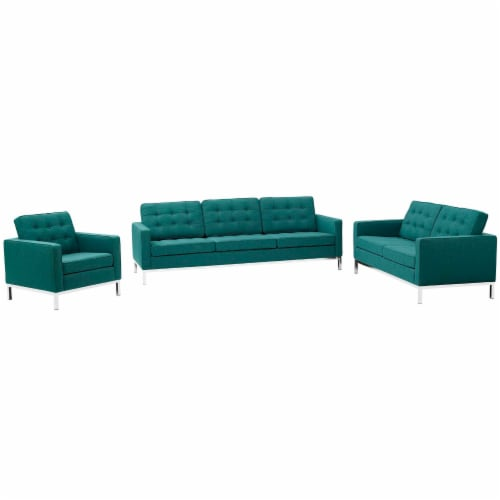 Loft 3 Piece Upholstered Fabric Sofa Loveseat and Armchair Set - Teal Perspective: front