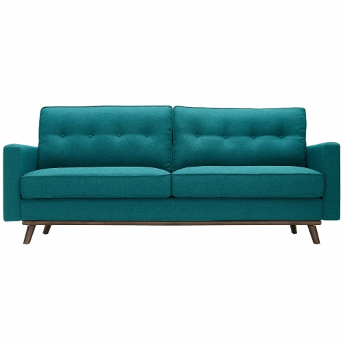 Prompt Upholstered Fabric Sofa - Teal Perspective: front