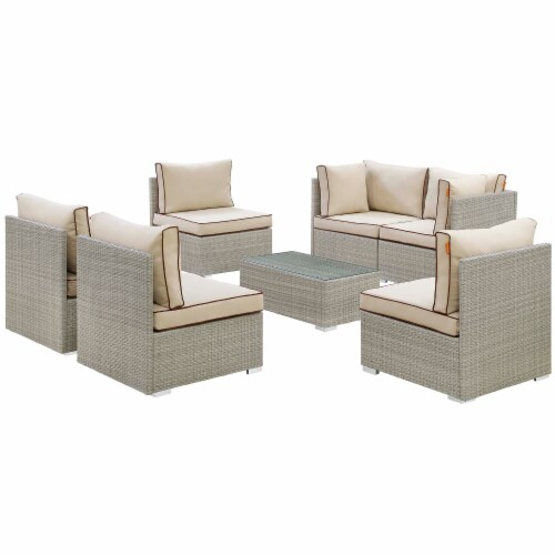 Repose 7 Piece Outdoor Patio Sectional Set - Light Gray Beige Perspective: front
