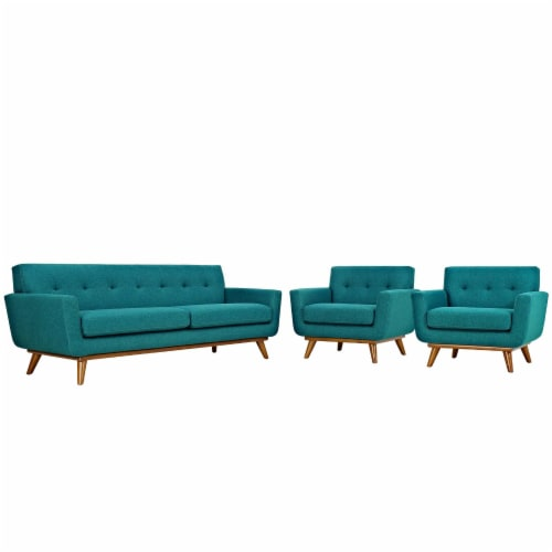 Engage Armchairs and Sofa Set of 3 - Teal Perspective: front