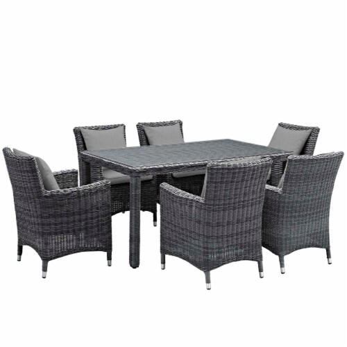 Summon 7 Piece Outdoor Patio Sunbrella Dining Set - Canvas Gray Perspective: front