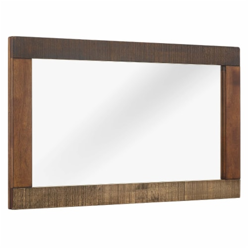 Arwen Rustic Wood Frame Mirror - Walnut Perspective: front