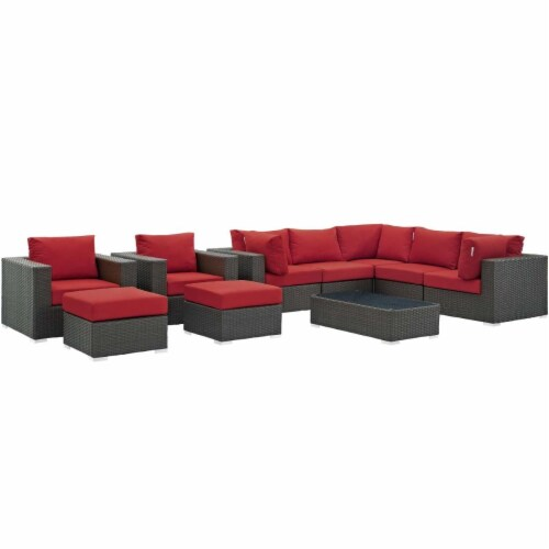 Sojourn 10 Piece Outdoor Patio Sunbrella Sectional Set - Canvas Red Perspective: front