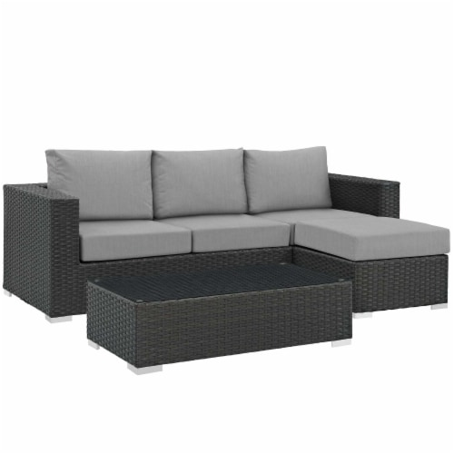 Sojourn 3 Piece Outdoor Patio Sunbrella Sectional Set - Canvas Gray Perspective: front