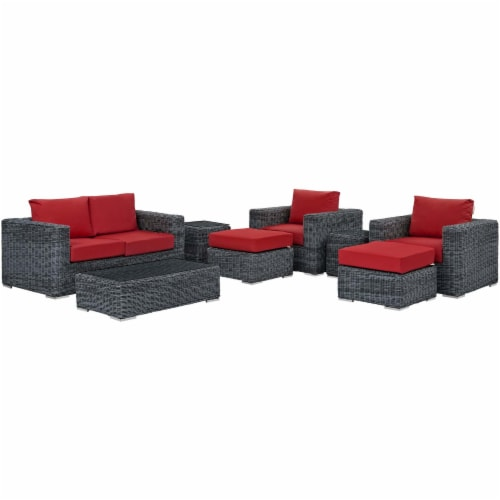 Summon 8 Piece Outdoor Patio Sunbrella Sectional Set - Canvas Red Perspective: front