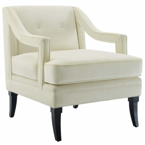 Concur Button Tufted Upholstered Velvet Armchair - Ivory Perspective: front