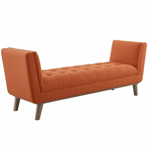 Haven Tufted Button Upholstered Fabric Accent Bench - Orange Perspective: front
